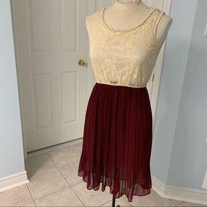 Vintage Pearl Lace Crimped Dress